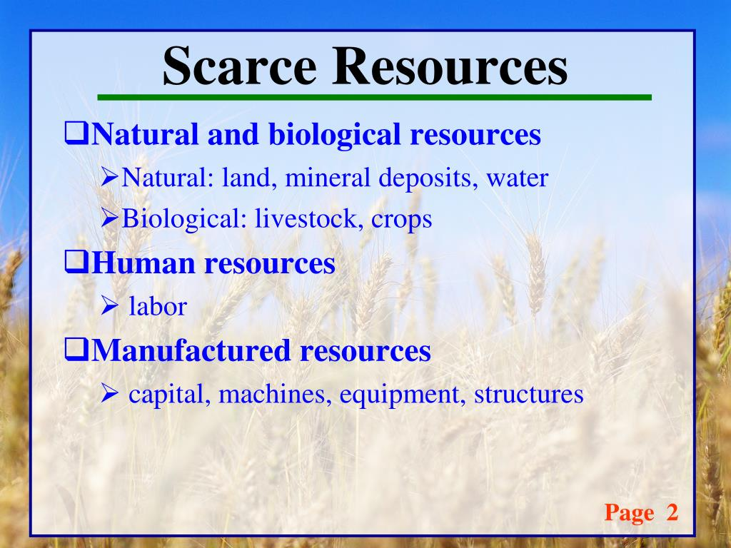 Scarce Natural Resources Definition