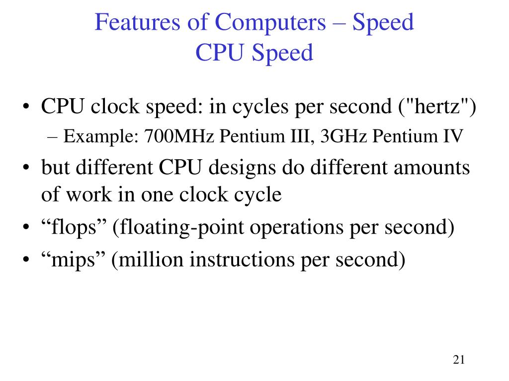 Features of Computers – Speed