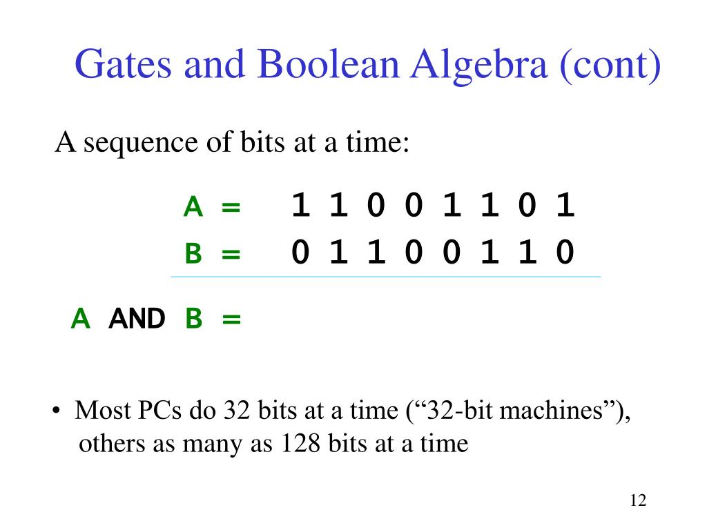 Gates and Boolean Algebra (cont)