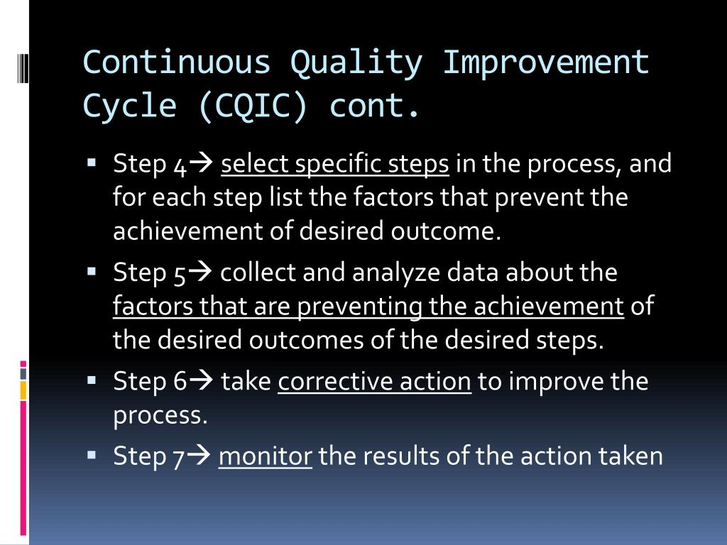 Continuous Quality Improvement Cycle (CQIC) cont.