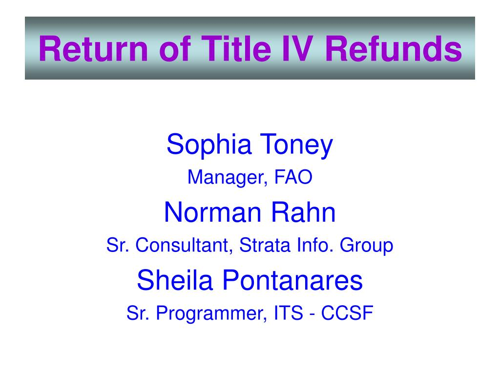 return of title iv refunds