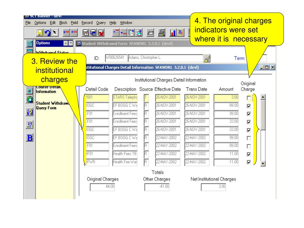 4. The original charges indicators were set where it is  necessary