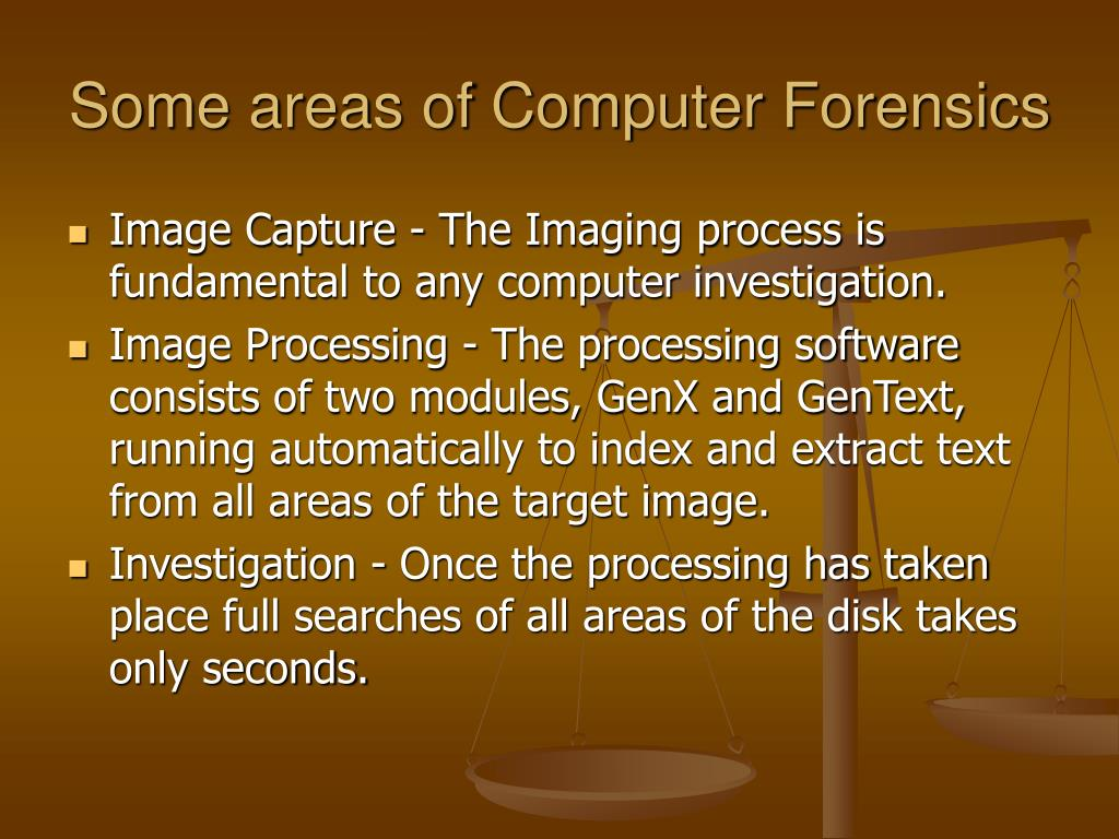 Some areas of Computer Forensics