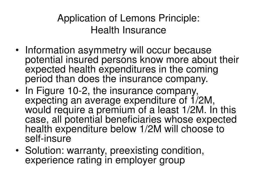 Application of Lemons Principle: