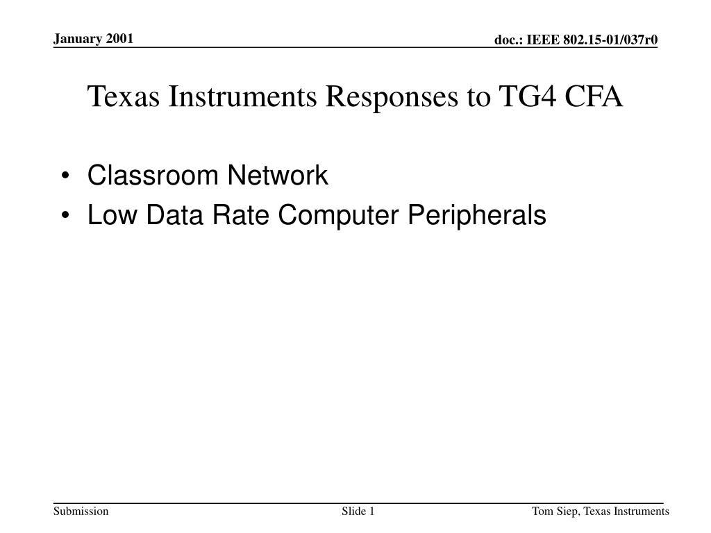 Texas Instruments Responses to TG4 CFA