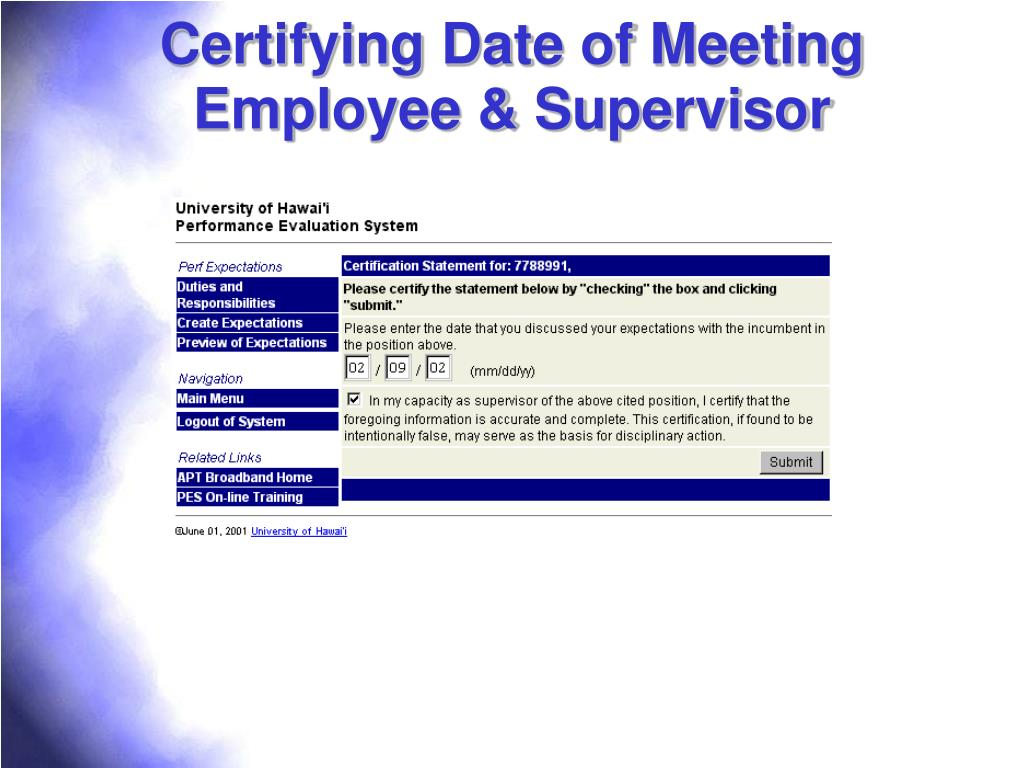 Certifying Date of Meeting Employee & Supervisor