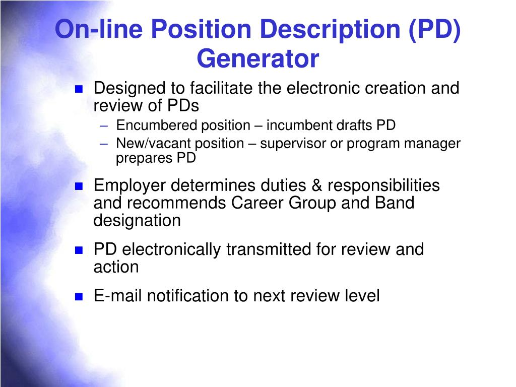 On-line Position Description (PD) Generator