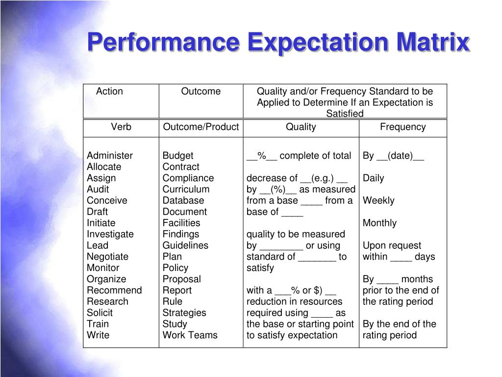 Performance Expectation Matrix