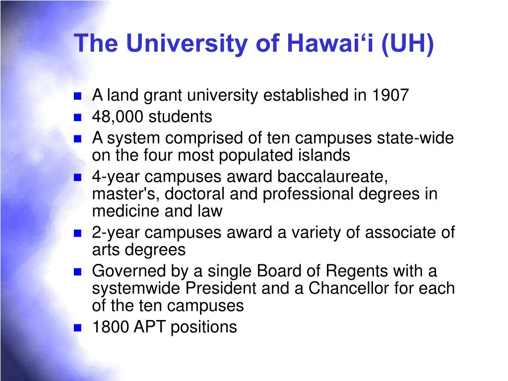 The University of Hawai'i (UH)