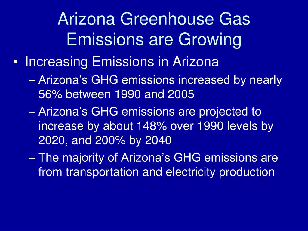 Arizona Greenhouse Gas Emissions are Growing