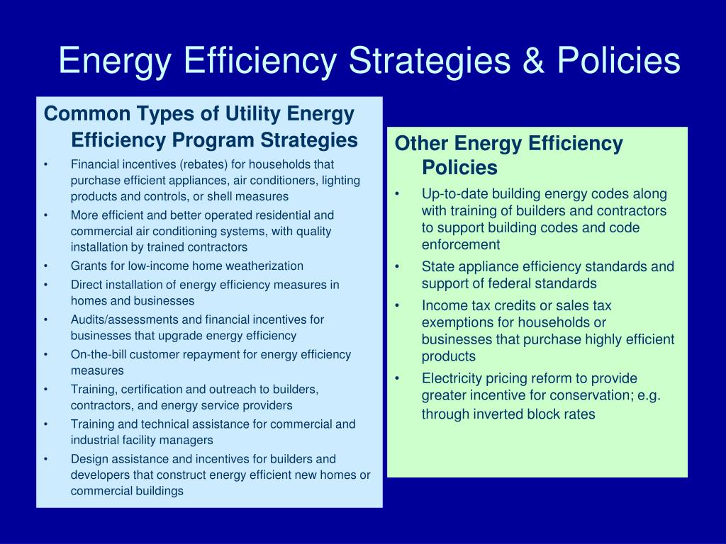 Common Types of Utility Energy Efficiency Program Strategies
