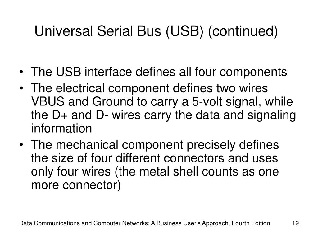 Universal Serial Bus (USB) (continued)