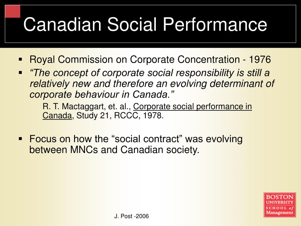 Canadian Social Performance
