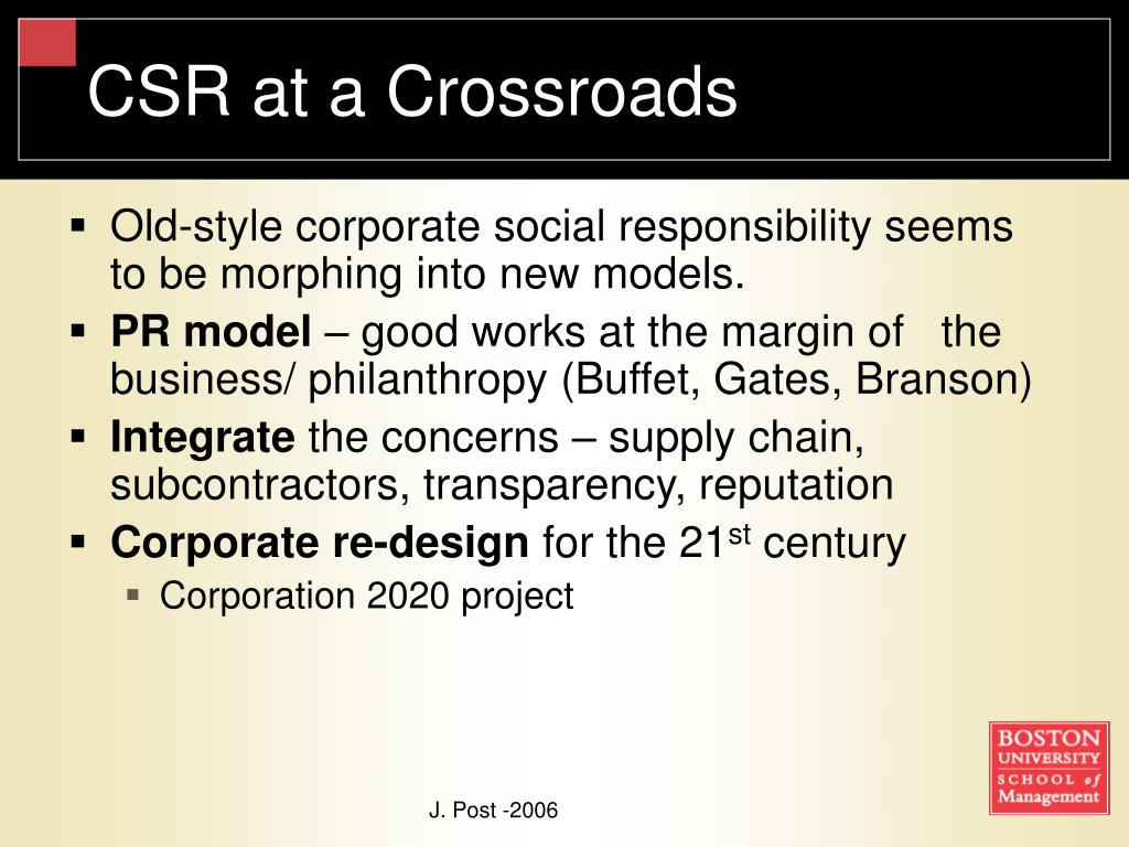 CSR at a Crossroads