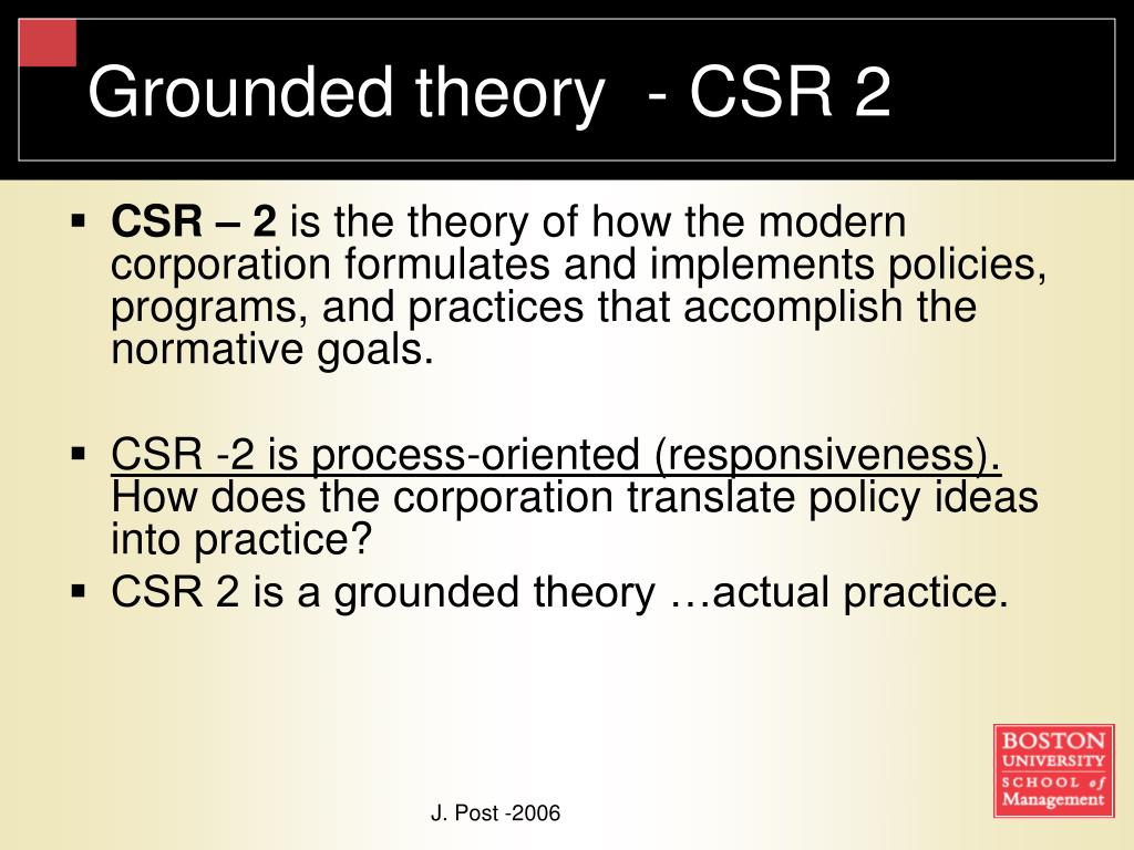 Grounded theory  - CSR 2