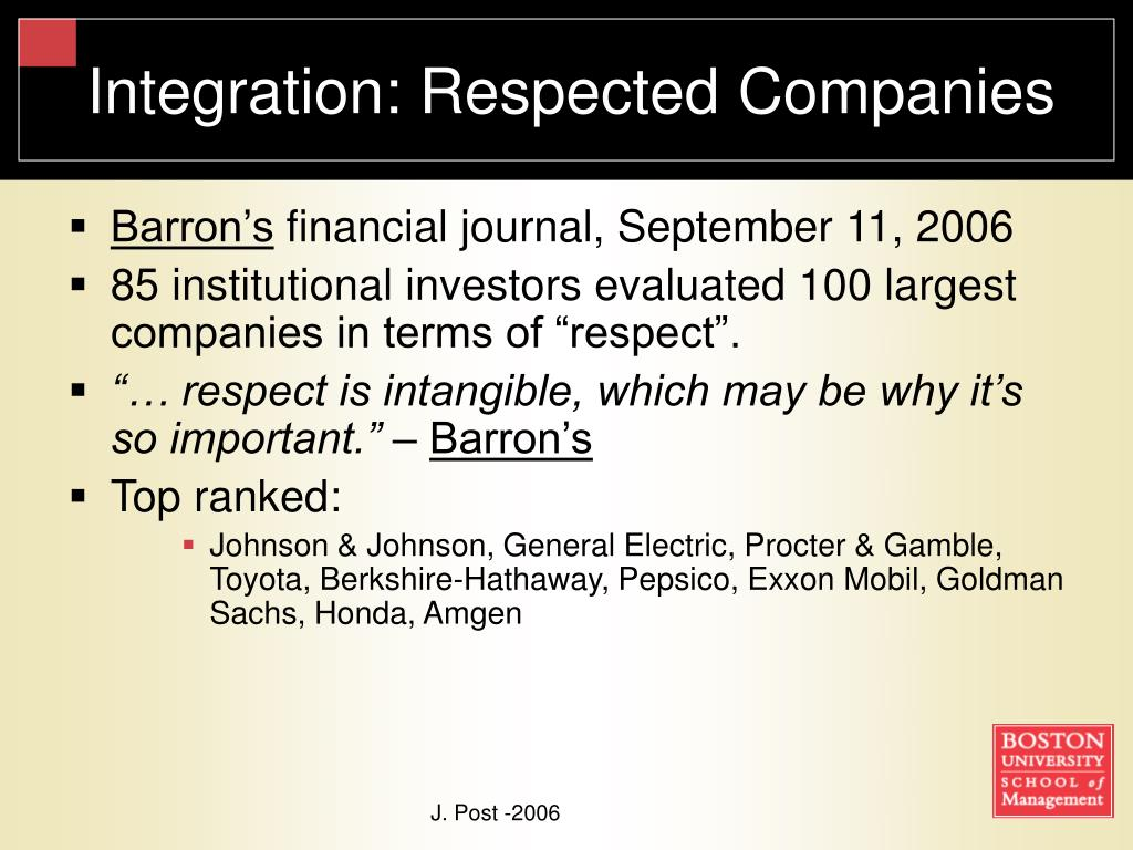 Integration: Respected Companies