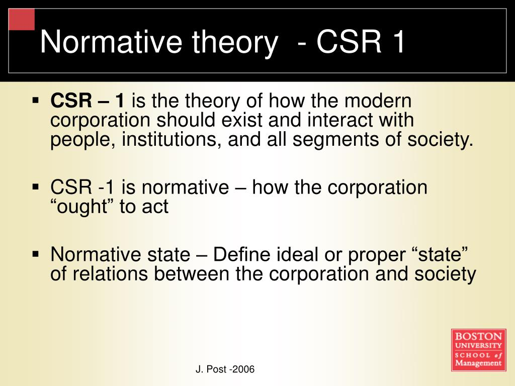 Normative theory  - CSR 1