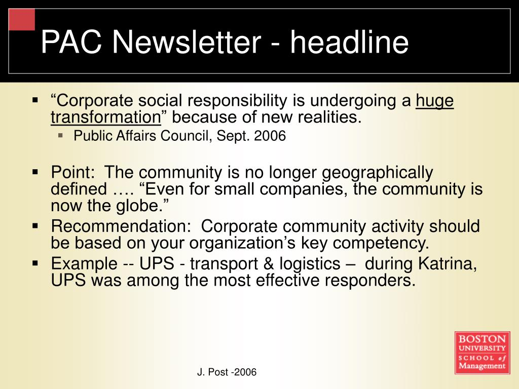 PAC Newsletter - headline