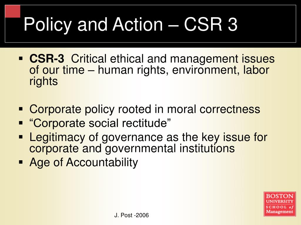 Policy and Action – CSR 3