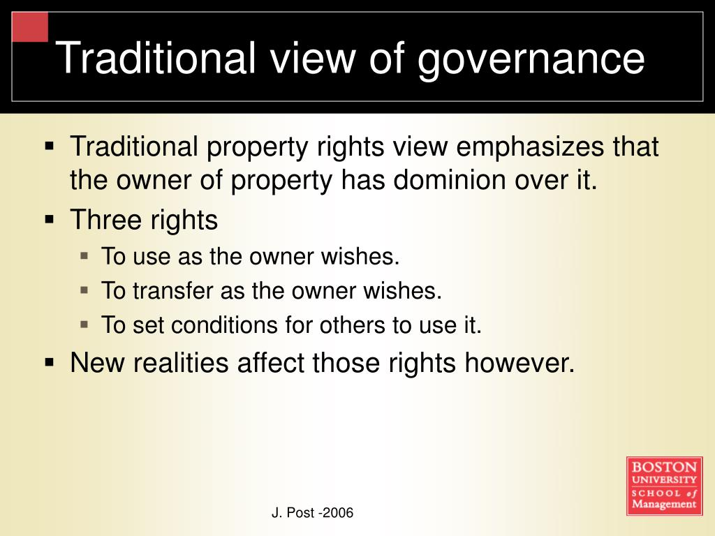 Traditional view of governance