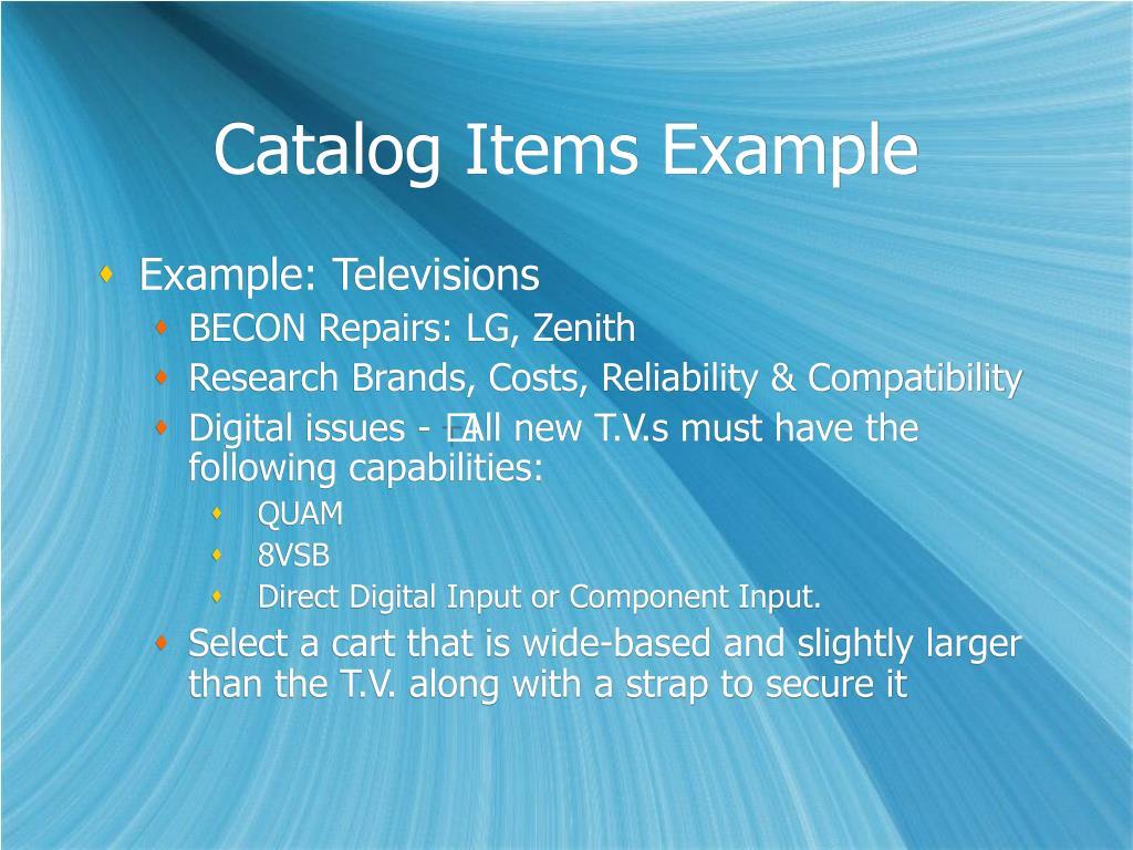 Catalog Items Example