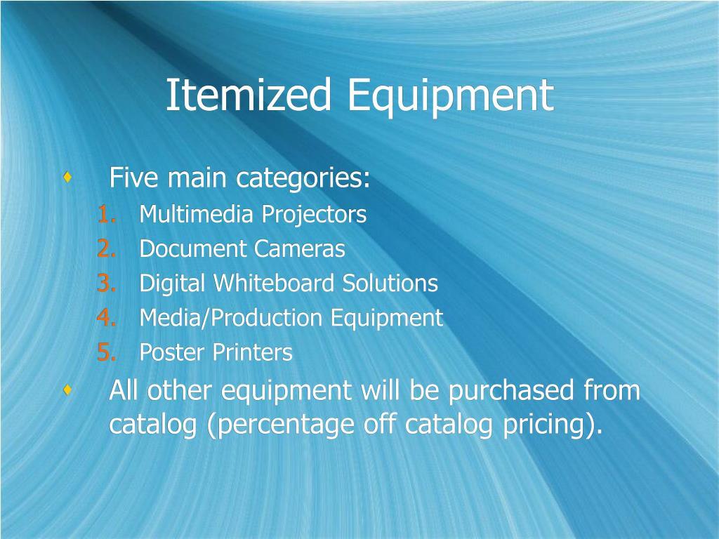 Itemized Equipment