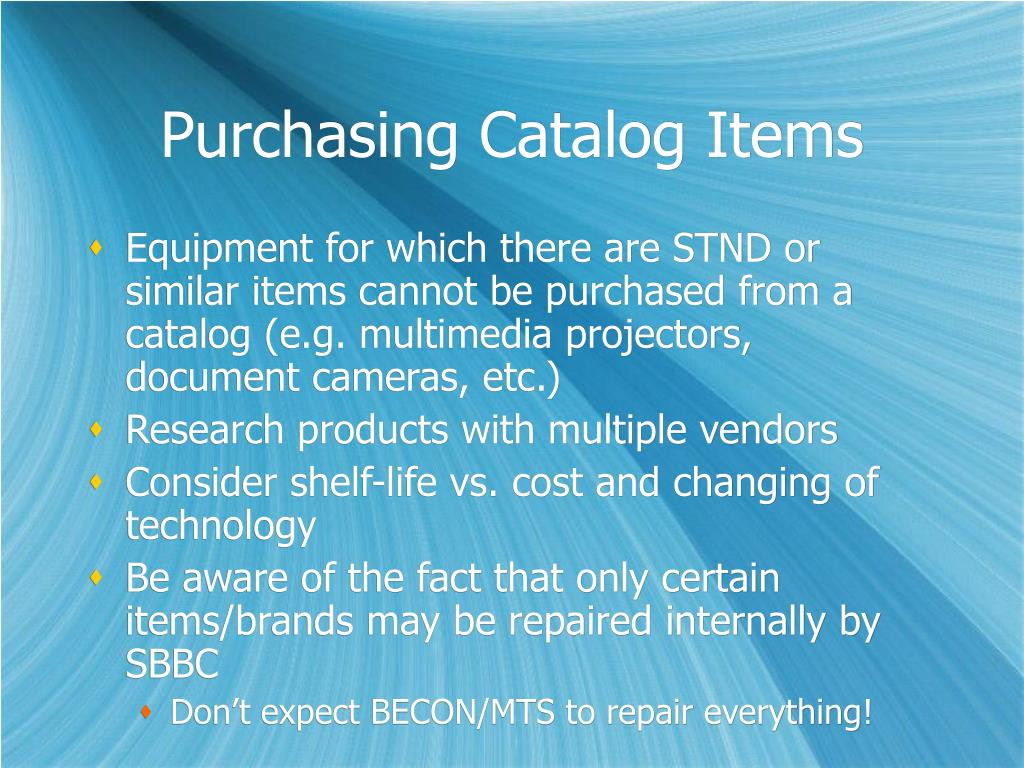 Purchasing Catalog Items
