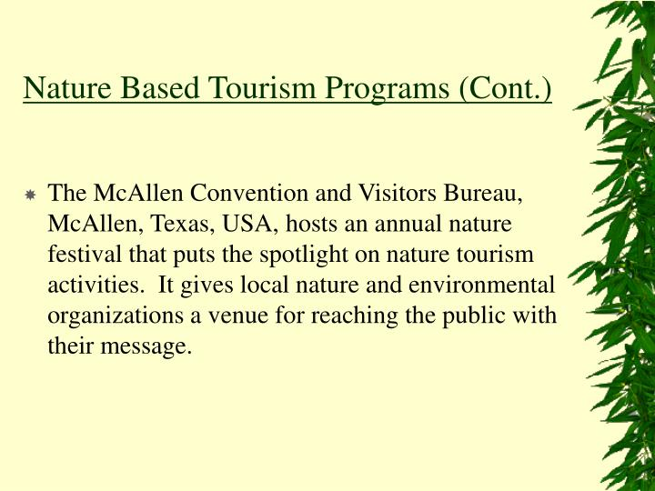 Nature based tourism programs cont