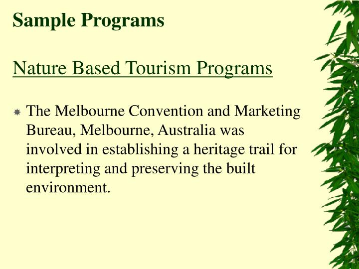 Sample programs nature based tourism programs