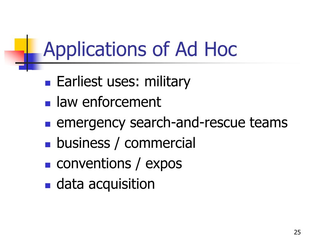 Applications of Ad Hoc