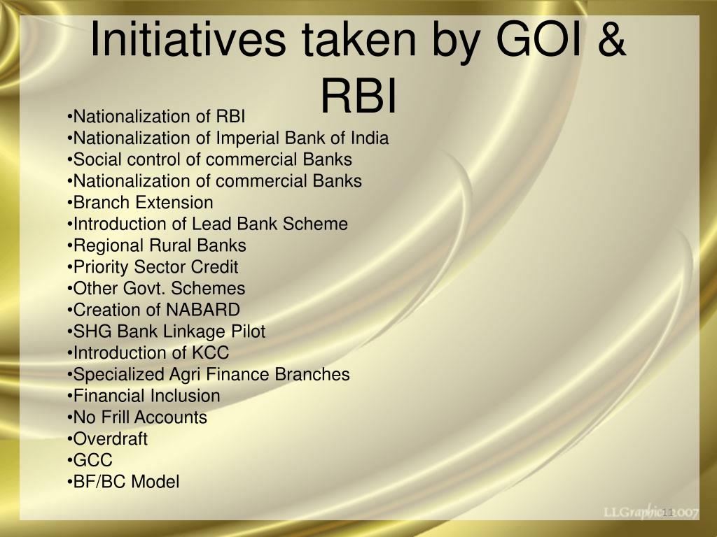 Initiatives taken by GOI & RBI