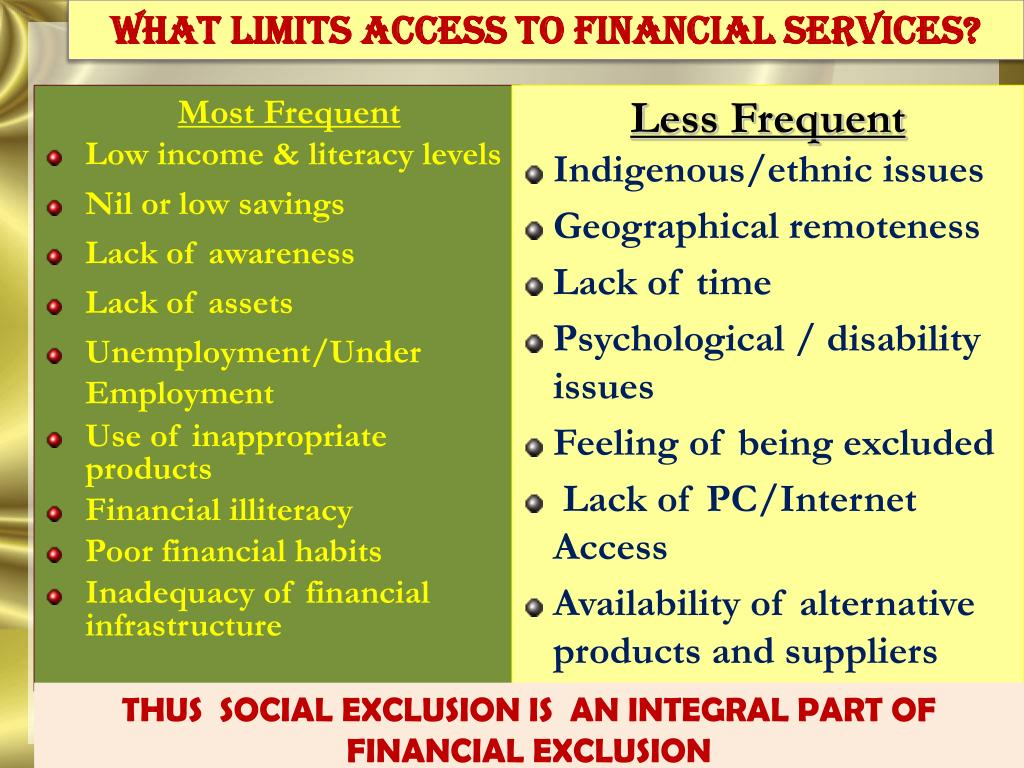 WHAT limits access to financial services?