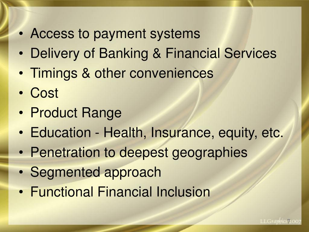Access to payment systems