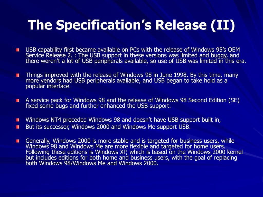 The Specification's Release (II)