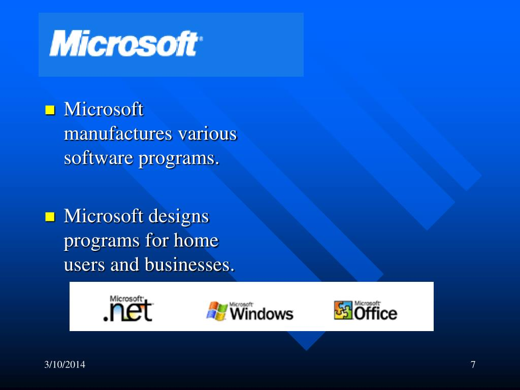 Microsoft manufactures various software programs.