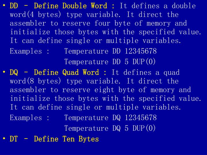 DD – Define Double Word :
