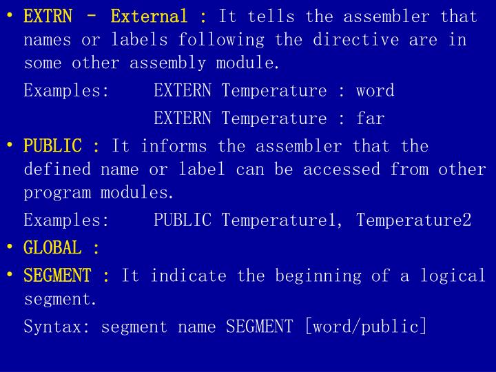 EXTRN – External :