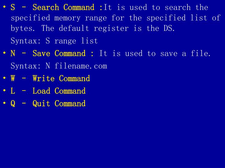 S – Search Command :