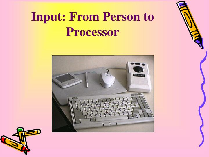 Input from person to processor