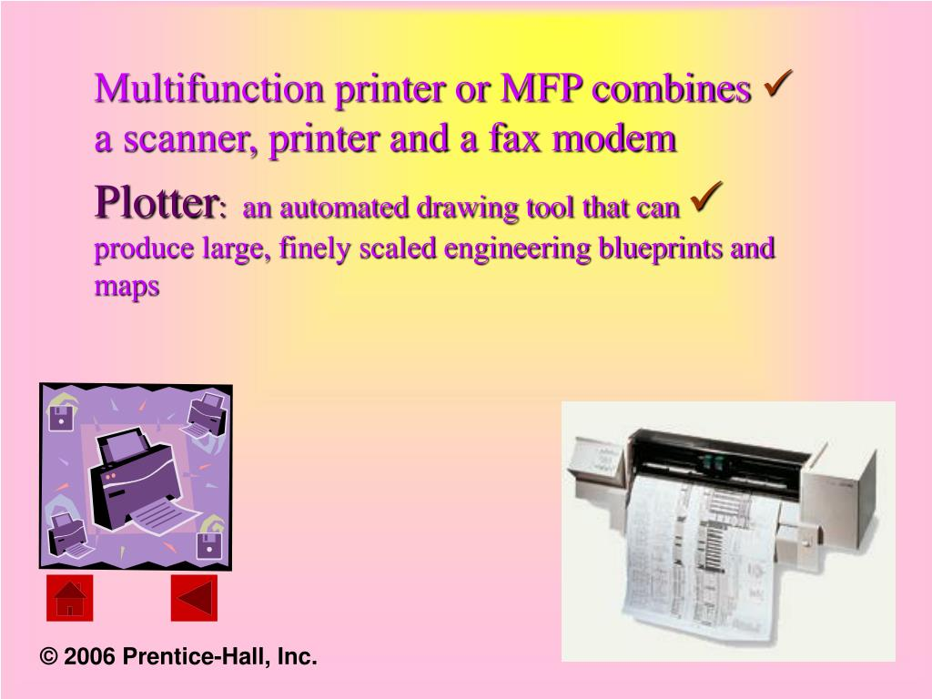 Multifunction printer or MFP combines a scanner, printer and a fax modem