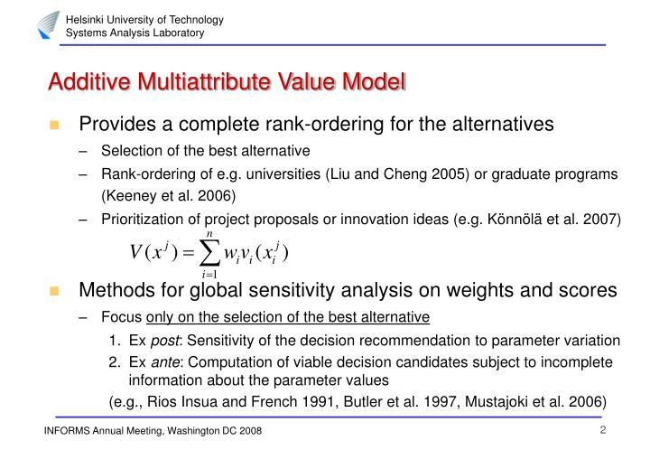 Additive Multiattribute Value Model
