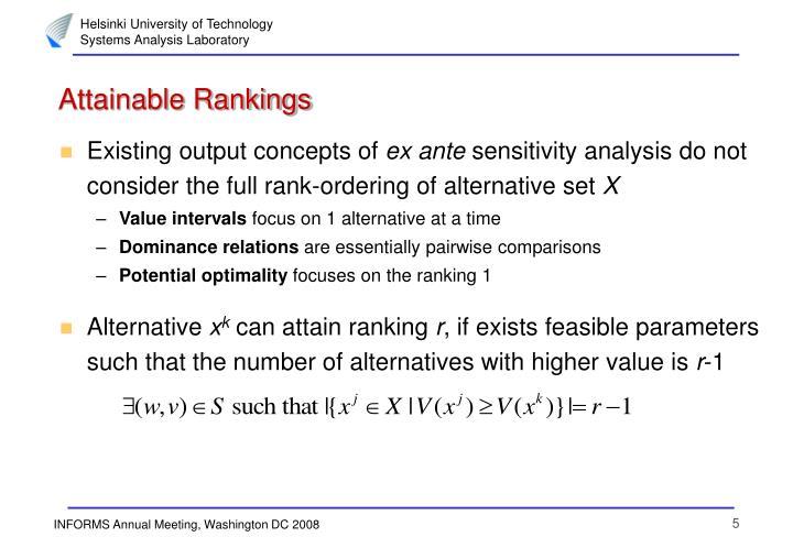 Attainable Rankings