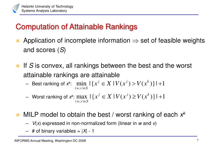 Computation of Attainable Rankings