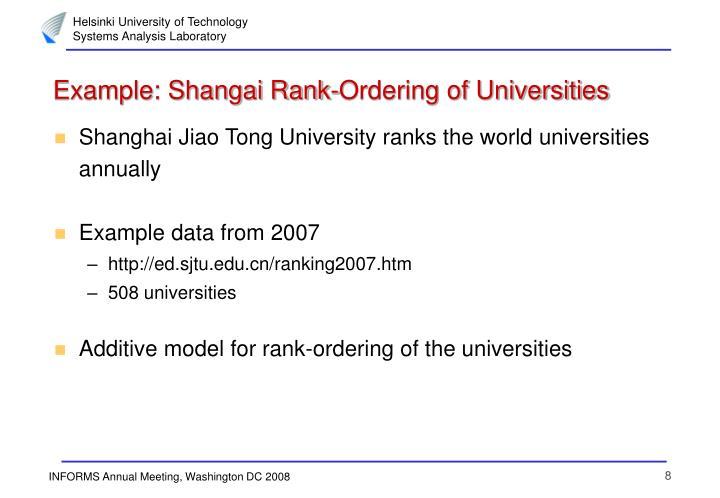 Example: Shangai Rank-Ordering of Universities