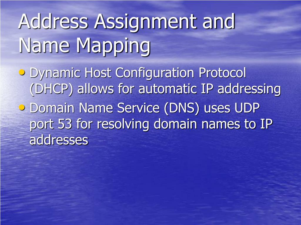 Address Assignment and Name Mapping