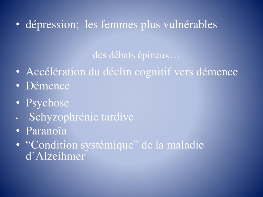 dépression;  les femmes plus vulnérables