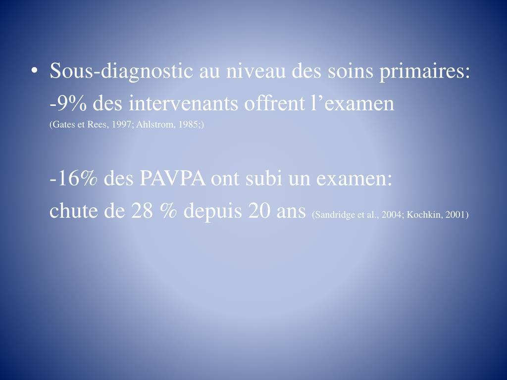 Sous-diagnostic au niveau des soins primaires: