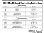 68hc12 addition subtraction instructions