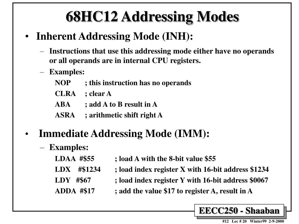 68HC12 Addressing Modes