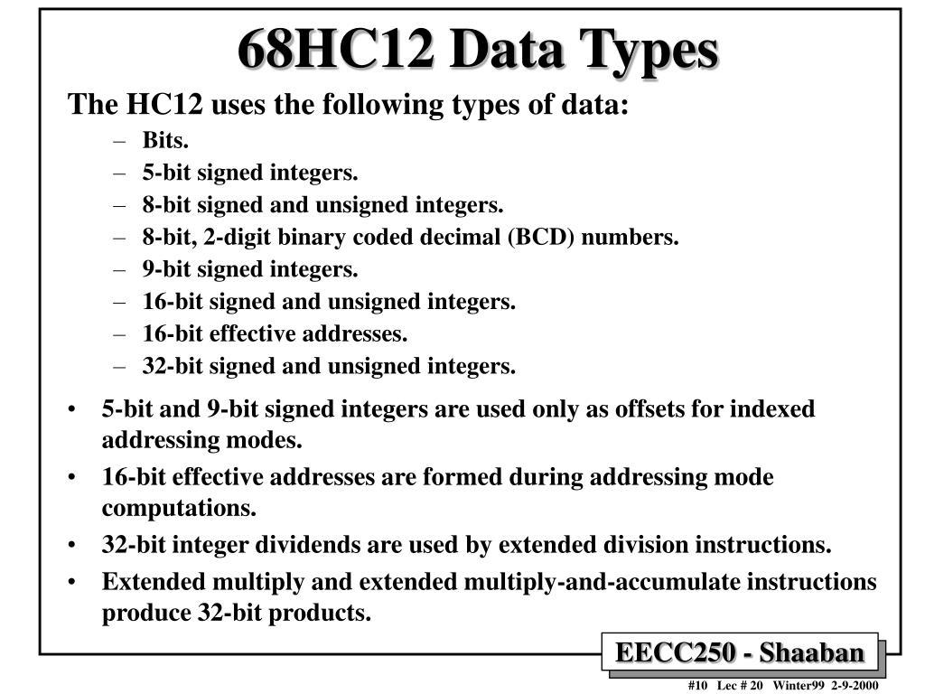 68HC12 Data Types